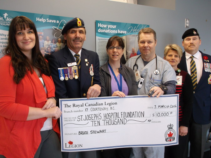 The Royal Canadian Legion Courtenay Branch #17 presented a cheque for $10,000 to the St. Joseph's Hospital Foundation on Wednesday, March 2 to purchase two pulse oximeters for St. Joseph's Hospital's Cardio-Pulmonary Services. From left to right: Katie Maximick, (Communications & Fund Development, St. Joseph's Hospital Foundation), Bruce Stewart, Royal Canadian Legion Branch #17 President, Sara Ferchuk (Respiratory Technologist), Craig Dickson (Clinical Chief Respiratory Therapy), Wanda McMillan, (Department Manager, Cardio-Pulmonary Services) and Kelly Kuzyk, Courtenay Legion #17 Poppy Chair.