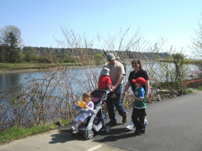 A young family participates in a past Walk for Hearts along the Courtenay River (submitted photo).