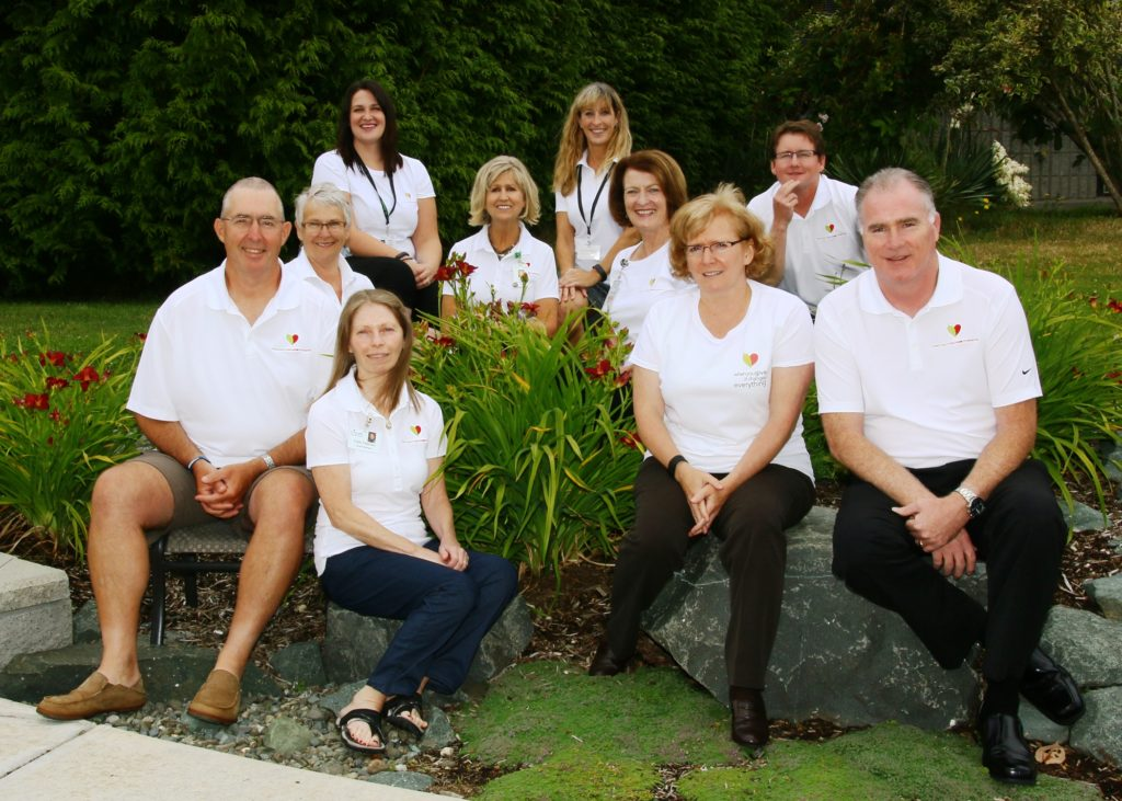 Comox Valley Healthcare Foundation's Board of Directors and staff for 2016/17. From left to right: Henning Larsen, Marianne Dufresne, Katie Maximick, Patti Fletcher, Lynn Dashkewytch, Meghan Liddle, Jane Murphy, Brenda Kelm (president), Robert Mulrooney and Bill Anglin. Missing from photo: Colleen Hay, Colleen Sawyer. Photo by Jim Peacock.