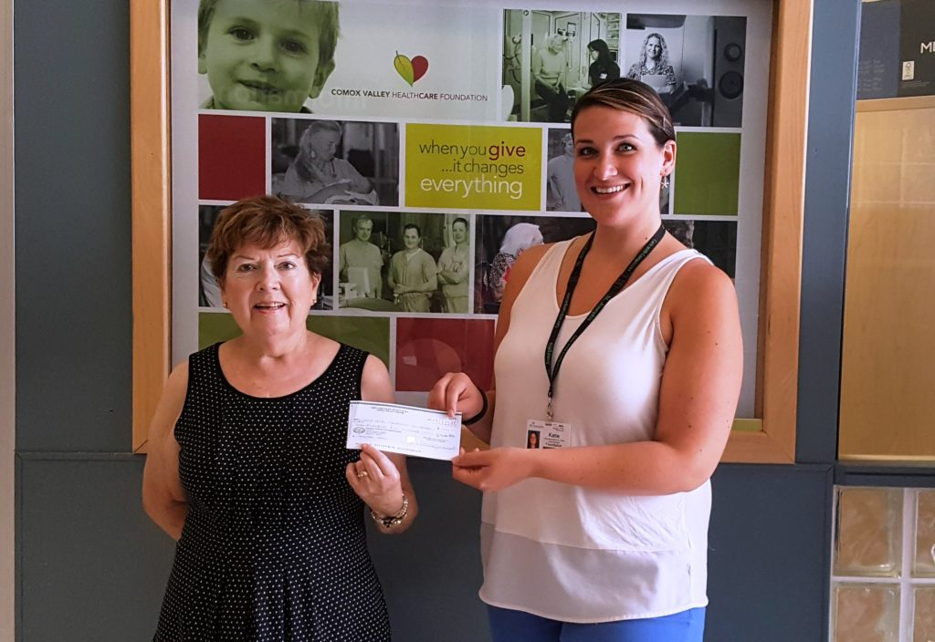 The Comox Valley chapter of the First Open Heart Society Anne Poole presents a cheque for $7,500 to Katie Maximick from the Comox Valley Healthcare Foundation. The money raised at this year's Walk for Hearts will go towards Cardiac Care Initiatives in the community.