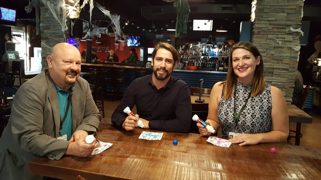 Left to right: Robert Haubrich, Manager of Mental Health, Substance Use and Psychiatry Services at St. Joseph's Hospital, Devin Moldenhauer, owner of Avalanche Bar & Grill, and Katie Maximick of Comox Valley Healthcare Foundation promote Dab & Donate to Mental Health, a new monthly music bingo event at the Avalanche with proceeds to local mental health needs.