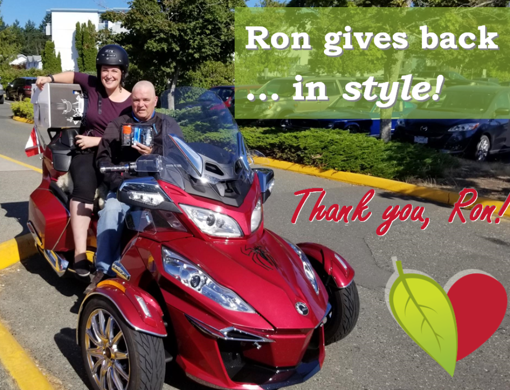 Ron Fortin delivers hospital care packages in style